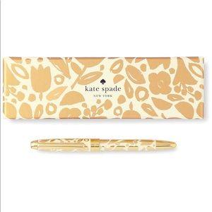 Kate Spade New York Black Ink Pen, Golden Floral